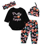 Wholesale hairband new style resale online - New arrival baby Halloween romper letter pumpkin print romper and flower pant with hat hairband