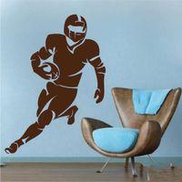 futbol çıkartmaları toptan satış-Geri kurucu Superbowl Duvar Çıkarılabilir Vinil Boys Yatak Çıkartması Koşu Futbol Oyuncu Duvar Sticker Amerikan Futbolu