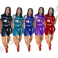 Wholesale women s knee length robes for sale - S XL Women Champions Shorts Set Tracksuit Summer Short Sleeve T Shirt Shorts Pants Piece Outfit Letter Print Sportswear Joggers hot A425