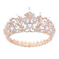 diadema reina corazones al por mayor-Barroco Rose Gold Prom Queen Crown Quinceanera Pageant Crowns Princess Crown Rhinestone Perlas de cristal Coronas de novia Tiaras para mujeres