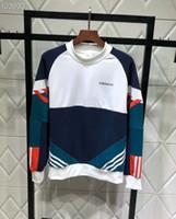 camisolas modelo venda por atacado-Modelos casal camisola encapuçado Blusas casal pulôver Contraste retro painéis bordados camisola pescoço de gola