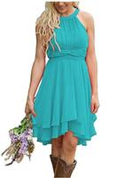 yüksek boyunlu gelinlik toptan satış-Zarif Ülke Gelinlik Modelleri Kısa Turkuaz Hizmetçi Onur Elbise Yüksek Düşük Halter Boyun Dantelli Yaz Boho Elbiseler Düğün Konuk Giymek