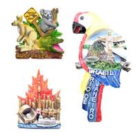 animais magnéticos para refrigerador venda por atacado-3D animais Ima de lembrança para casa decoração toronto edifício resina geladeira etiqueta magnética cozinha acessórios de decoração