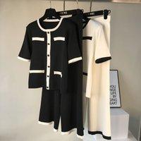 calças de botão venda por atacado-Amolapha Mulheres Botões Tops Solta Calças Conjuntos de Malha de Manga Curta Único Breasted Pullovers Calças de Perna Larga Ternos para a Mulher