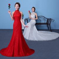 Wholesale halter neckline trumpet wedding dress resale online - Lace Mermaid Wedding Dresses with Halter Neckline Ivory Red Wedding Gowns Backless Bride Dress