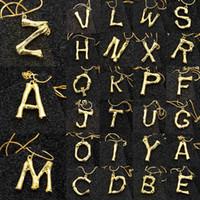kleine 14k gold anhänger halskette großhandel-2cm Kleines Gold Gehämmertes Metall Bambus 26 Buchstaben Alphabet A-Z Minimalist Initial Anhänger Halskette Fashion Twist Chain Neck Jewelry