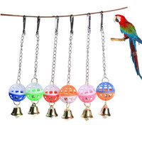 Wholesale bird climbing toys resale online - New Design Small Bell Bird Toy Parrot Birds Vocal Toys Climb Bite Chew Hanging Swing Bell Colorful Ball wc H1