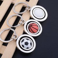 Wholesale sports souvenirs keyring resale online - 3D Sports Rotating Basketball Football Golf Keychain Keyring Souvenirs Pendant Keyring Key Fob Ball Gifts