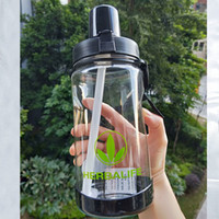 Wholesale hot pink hiking bag resale online - High Quality Eco friendly ml Pink Black Herbalife Nutrition Plastic Sports Straw Water Bottle Hiking Climbing Space Bottle T8190627