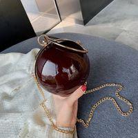 Wholesale clip bag locks resale online - Female Fashion Clutch Bag Ball Shape Round Shoulder Messenger Bag Ladie Party Wedding Chain Clip Bag Metalic Ring Handle Handbag