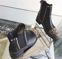 Großhandel Marke Frauen Stiefel Mädchen Designer Luxus Rote Untere Schuhe Verzierte Spikes Party Schuhe Herbst Winter High Top Frauen Freizeitschuhe