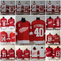 hockey jersey pavel großhandel-Detroit Red Wings Jerseys Hockey 13 Pavel Datsyuk 40 Henrik Zetterberg 8 Justin Abdelkader 19 Steve Yzerman 71 Larkin 91 Sergei Fedorov