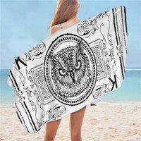 tapete de coruja venda por atacado-Owl toalha de banho Cartão animal impresso toalha de praia de microfibra para White Crianças e preto Yoga Mat serviette Classical