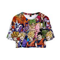 anime super sexy großhandel-WEJNXIN Sommer 3D Crop Top Frauen Super Broly Anime Cartoon Goku Kurzarm Sexy Herausgestellt Navel Tops