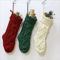 Wholesale crochet decor resale online - Christmas Party Knitted Stocking Hanging Crochet Socks Tree Ornament Decor Crochet Hosiery Knitted Xmas Socks Gift Bags Candy Bag YZ254