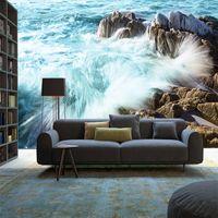 ingrosso paesaggio surf-3D HD paesaggio marino surf paesaggio sfondo muro dipinto carta da parati Soggiorno camera da letto seta grande personalizzato murale copertura murale