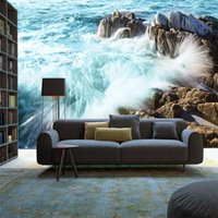 Wholesale wall wallpapers hd resale online - 3D HD seascape surf landscape background wall painting wallpaper Living room bedroom silk large custom mural wall cover