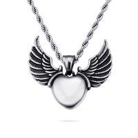 подвеска золотых сердец 18k оптовых-Мода женщины мужчины хип-хоп форма сердца Крылья Ангела подвески ожерелье из нержавеющей стали 316L 18k позолоченные ювелирные изделия