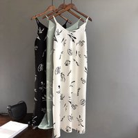 camis largo blanco al por mayor-Verano 2019 Vestido sin mangas para mujer Casual Stripe White Green Black Long Camisole Slim Women Beach Cami Dress