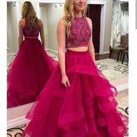 kleide zwei eine quinceanera großhandel-Hot Pink Zweiteiler Prom Kleider Lange 2019 Kristall Perle Schwarze Mädchen Formale Abendkleider Cocktail Party Ball Quinceanera Sweet 16 Kleid