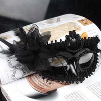 Wholesale black flower mask resale online - Woman Mask Halloween Masquerade Masks Mardi Gras Venetian Dance Party Face white black flower plated Mask colors