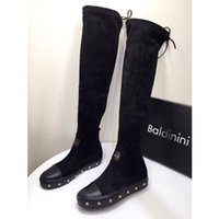 italienne luxe lacets femmes bottines Nouvelle sur à noir arrivée les genou daim en au designer de de en bottes cuir mode hautes bottes partie marque N8v0nmw
