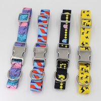 Wholesale dog collars resale online - Semimetal Buckle Collars Pet Dog Adjust Nylon Printed Fashion Collar Accessories Opp Packing With Various Pattern xy J1