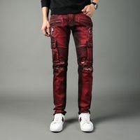 Wholesale mens punk trousers resale online – designer 2019 New Fashion Designer Jeans High Quality Locomotive Red Big Pocket Tooling High Street Punk Style Slim Trousers Mens Jeans Size