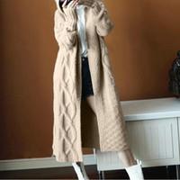 büyük boy hırka toptan satış-kore Uzun Hırka Bayan Sonbahar 2018 Moda Uzun Örme Hoodie Triko Bayan Boy Tops Casual Siyah Coat Kış Güz