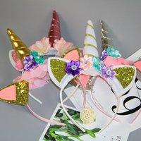 цветок день рождения благосклонность оптовых-Единорог кружева цветок корона повязка на голову единорог украшение дня рождения дети единорог ну вечеринку сувениры поставки душа ребенка