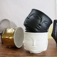 seramik vazolar toptan satış-Kişilik Adam Yüz Çiçek Vazo Ev Dekorasyon Aksesuarları için Modern Seramik Vazo Çiçekler Pot Yetiştiricilerinin Destek Toptan