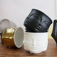 ceramica para decoraciones al por mayor-Personalidad Hombre Cara Florero Decoración para el hogar Accesorios Florero de cerámica moderno para macetas de flores Soporte al por mayor