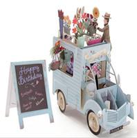 flores postales al por mayor-Tarjeta de cumpleaños de los niños 3D Tarjeta de felicitación del coche de la flor colorida creativa Tarjeta postal de felicitación del hueco de la escultura exquisita