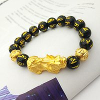 mascote jóias venda por atacado-Imitação de Ouro Riqueza Pixiu Transferência Sorte Charme Obsidian Seis Palavra Mantra Pulseira Religiosa Mascote dos homens Jóias