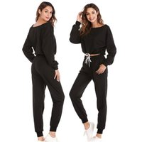 pantalones de sudor de yoga al por mayor-Otoño invierno de dos piezas chándal trajes de jogging 5 colores para las mujeres trajes deportivos pantalones deportivos sudaderas yoga traje de fitness # 78281
