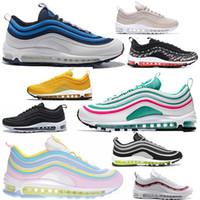 ec925b59096 Nike 97 Air max 97 Chaussures de marque pour hommes pull tab chaussures de  course à pied femme triple blanc blanc noir plage sud chaussures de sport  ...