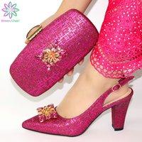 женская обувь оптовых-Африканская фуксия обуви и сумка набор для партии итальянской обуви с подходящей сумкой новый дизайн леди соответствия и