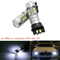 luz delantera bmw al por mayor-2PC Blanco PWY24W PW24W Bombillas LED para Audi A3 A4 A5 VW MK7 Golf CC Ford Fusion Luces de intermitentes delanteras, BMW F30 3 Series DRL
