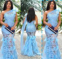 vestido leve venda por atacado-2019 luz céu azul impressionante sexy sereia vestidos de noite sheer 3d flor rendas longo formal do baile vestidos com pena de avestruz sweep trem