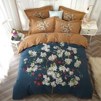 ingrosso copertura del duvet d'albero del cotone del re-Flower Tree Tropical Leaf Bedding Set Queen King Size Lenzuola Copripiumini Morbido cotone spazzolato stampato Tessuti per la casa