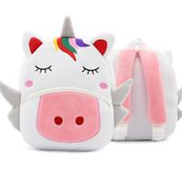 erkek çocuklar için bebek çantaları toptan satış-Sırt 3D Cartoon Peluş Çocuk Sırt Anaokulu Bebek Okul çantası sevimli hayvan Unicorn Sırt Çantası Okul çantaları Kız Erkek Hediye
