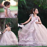 vestido de baile rosa para crianças venda por atacado-Puffy rosa Backless vestido de baile vestidos da menina de flor para o casamento frisado camadas criança pageant vestidos Tulle Appliqued Little Kids Prom Dress