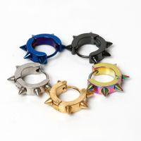 Wholesale punk spikes studs wholesale online - Black Gothic Punk Stud Earrings For Women Men Stainless Steel Rivet Spike Earrings Rock Party Jewelry