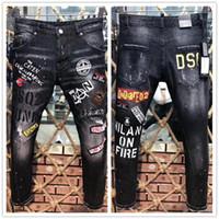 siyah deri jogger pantolon toptan satış-Moda Tasarımcısı Mens Biker Jeans Deri Ripped Patchwork Slim Fit Erkek Sıkıntılı Kot Pantolon Için Siyah Moto Denim Joggers