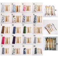 fourches en mousseline achat en gros de-Chopsticks bambou fourchette cuillère et paille de vaisselle en bambou Couverts Couverts avec un chiffon couteaux Sac fourchette cuillère 7 pcs / set