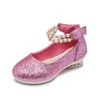 обувь для жемчуга оптовых-Перл принцесса обувь для девочек 2019 блестят детская обувь Мода детская дизайнерская обувь танцевальные детские туфли Свадебные платья для девочек на высоких каблуках A4223