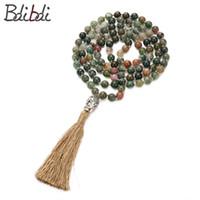 india religiosa al por mayor-Balibali Indio Religioso Anudado Onyx Collar de Cuentas 108 Perlas Mala Buddha Oración Meditación Collar Unisex Regalo de la Amistad