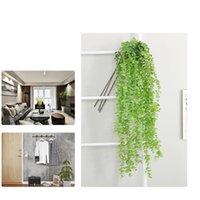 decorativo falso videiras venda por atacado-Artificial Flower Vine Falso Silk Silver Dollar Eucalyptus Hanging Garland Verdura planta para o casamento FlowersT2I5618 decorativa