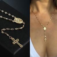 cruzes para a jóia venda por atacado-Cadeia 12pcs Cruz Vintage Colar Cruz cristã Bohemia religiosa Colar Pingente Rosário Presentes Jóias Mulheres Charme