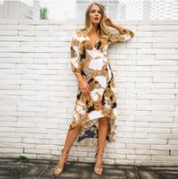 946ee2c32a Las mujeres vestidos impresos nueva llegada de primavera vestido de las  señoras impresión atractiva de las mujeres 3 4 manga moda vestidos casuales  ropa ...